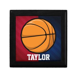 Baloncesto; Rojo, blanco, y azul Joyero Cuadrado Pequeño