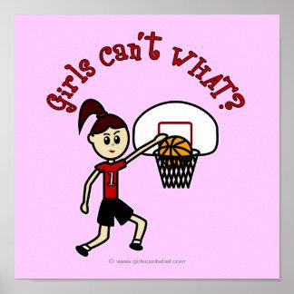Baloncesto rojo claro póster