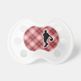 Baloncesto rojo de la tela escocesa chupetes de bebé