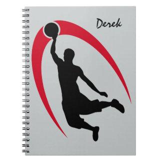 Baloncesto rojo negro personalizado spiral notebook