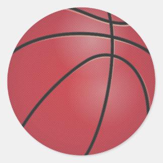 Baloncesto rojo pegatina redonda