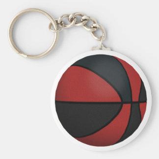 Baloncesto rojo y negro: llavero redondo tipo pin