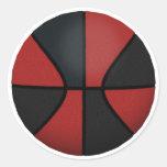 Baloncesto rojo y negro: pegatinas redondas