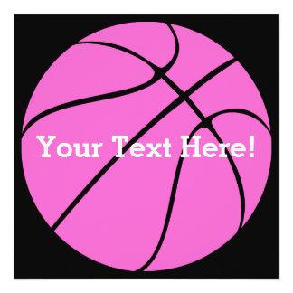 """Baloncesto rosado de encargo invitación 5.25"""" x 5.25"""""""