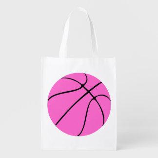 Baloncesto rosado de encargo bolsa de la compra