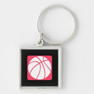Baloncesto rosado llavero cuadrado plateado