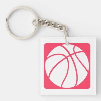 Baloncesto rosado llavero cuadrado acrílico a una cara