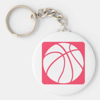 Baloncesto rosado llavero redondo tipo chapa