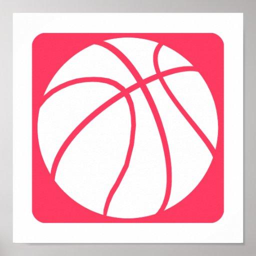 Baloncesto rosado póster