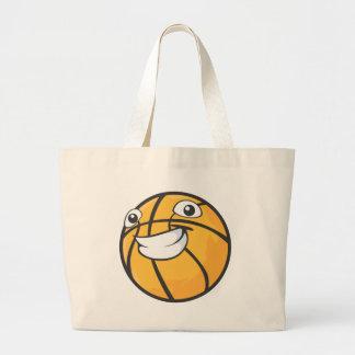 Baloncesto sonriente feliz de encargo bolsa tela grande