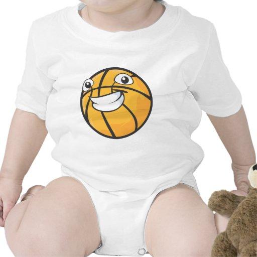 Baloncesto sonriente feliz de encargo camiseta