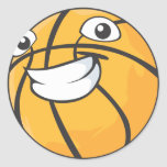 Baloncesto sonriente feliz de encargo etiqueta