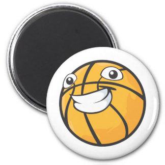Baloncesto sonriente feliz de encargo imán redondo 5 cm