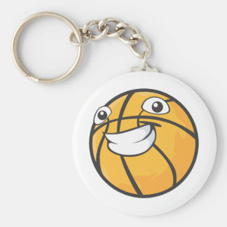 Baloncesto sonriente feliz de encargo llavero redondo tipo pin