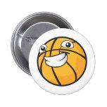 Baloncesto sonriente feliz de encargo pin