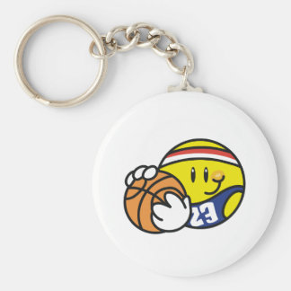 Baloncesto sonriente llavero redondo tipo pin