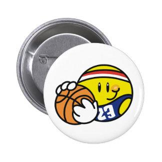 Baloncesto sonriente pin redondo de 2 pulgadas
