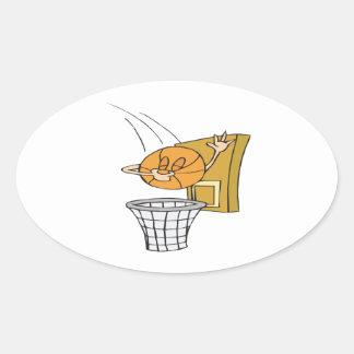 Baloncesto tonto calcomanías ovales
