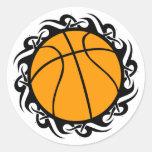 baloncesto. tribal pegatinas redondas