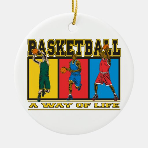 Baloncesto una manera de vida adorno navideño redondo de cerámica
