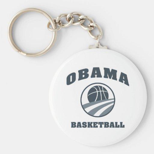 Baloncesto v1 gris de Obama Llavero Redondo Tipo Pin