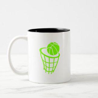 Baloncesto verde chartreuse, de neón taza de dos tonos
