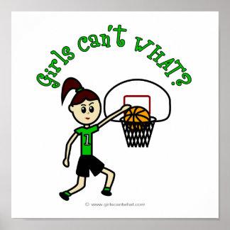 Baloncesto verde claro de los chicas impresiones