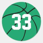 Baloncesto verde de encargo etiqueta redonda