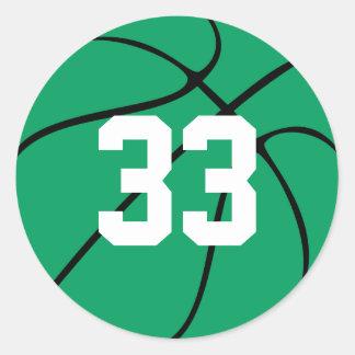Baloncesto verde de encargo pegatina redonda