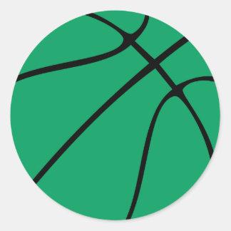 Baloncesto verde de encargo etiquetas redondas