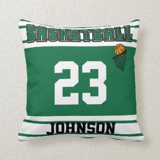 Baloncesto verde oscuro y blanco cojin