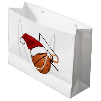 Baloncesto y aro del navidad bolsa de regalo grande