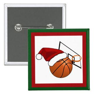 Baloncesto y aro del navidad pin cuadrado