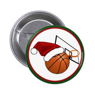 Baloncesto y aro del navidad pin redondo de 2 pulgadas