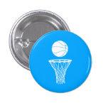 Baloncesto y azul del botón del aro pin