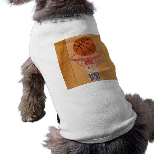 Baloncesto y cesta playera sin mangas para perro