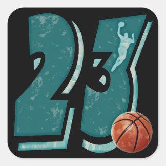 Baloncesto y jugador del número 23 pegatinas cuadradases