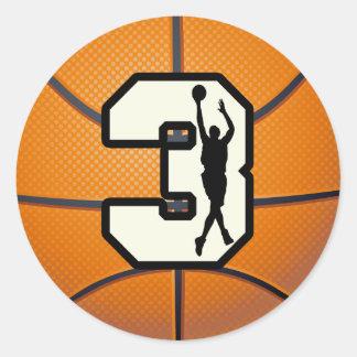 Baloncesto y jugador del número 3 etiqueta redonda