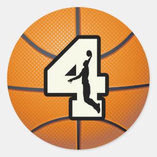 Baloncesto y jugador del número 4 pegatina redonda