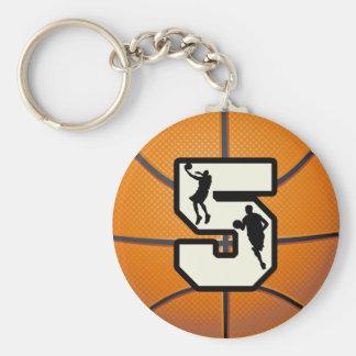 Baloncesto y jugador del número 5 llavero redondo tipo pin