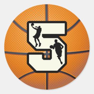 Baloncesto y jugador del número 5 pegatinas redondas
