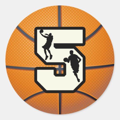 Baloncesto y jugador del número 5 pegatinas