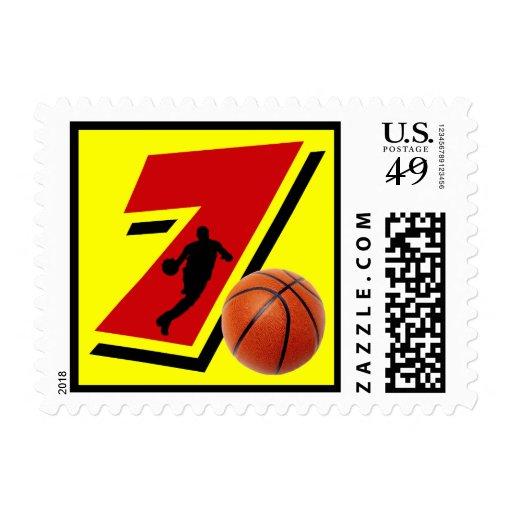 Baloncesto y jugador del número 7 sellos