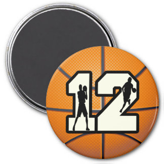 Baloncesto y jugadores del número 12 iman para frigorífico