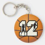Baloncesto y jugadores del número 12 llaveros