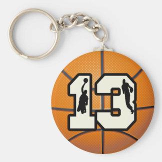 Baloncesto y jugadores del número 13 llavero personalizado
