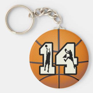 Baloncesto y jugadores del número 14 llaveros personalizados