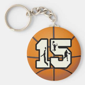 Baloncesto y jugadores del número 15 llavero personalizado