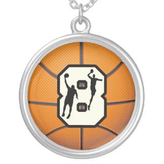 Baloncesto y jugadores del número 8 colgante redondo