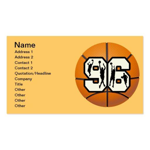 Baloncesto y jugadores del número noventa y seis tarjetas de visita